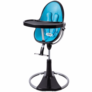 Bloom Fresco Highchair with Black Frame in Bermuda Blue (Leatherette)