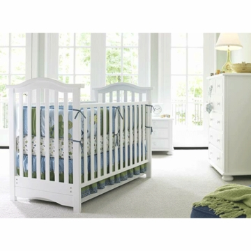 Bonavita Classic Hudson 3 Piece Nursery Set in Classic White - Crib, Double Dresser & 5 Drawer Dresser