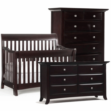 Bonavita Metro Lifestyle 3 Piece Nursery Set in Classic Cherry - Crib, Double Dresser & 5 Drawer Dresser