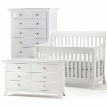 Bonavita Metro Lifestyle 3 Piece Nursery Set in Classic White - Crib, Double Dresser & 5 Drawer Dresser