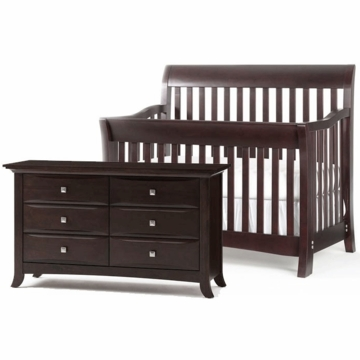 Bonavita Metro Lifestyle 2 Piece Nursery Set in Chocolate - Crib & Double Dresser