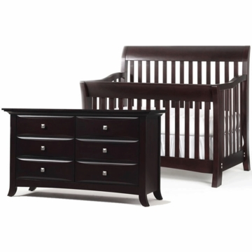 Bonavita Metro Lifestyle 2 Piece Nursery Set in Classic Cherry - Crib & Double Dresser