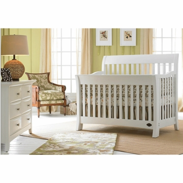 Bonavita Metro Lifestyle 2 Piece Nursery Set in Classic White - Crib & Double Dresser