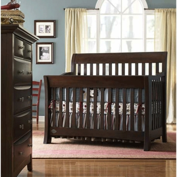Bonavita Metro Lifestyle 2 Piece Nursery Set in Chocolate - Crib & 5 Drawer Dresser
