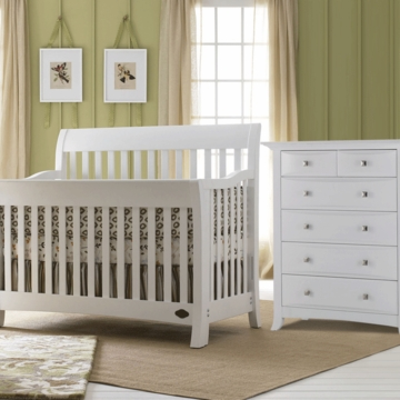 Bonavita Metro Lifestyle 2 Piece Nursery Set in Classic White - Crib & 5 Drawer Dresser