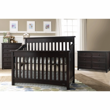 Bonavita Peyton Lifestyle 3 Piece Nursery Set in Espresso - Lifestyle Crib, Double Dresser & 5 Drawer Dresser