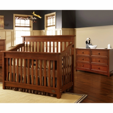 Bonavita Peyton Lifestyle 2 Piece Nursery Set in Chestnut - Lifestyle Crib & Double Dresser