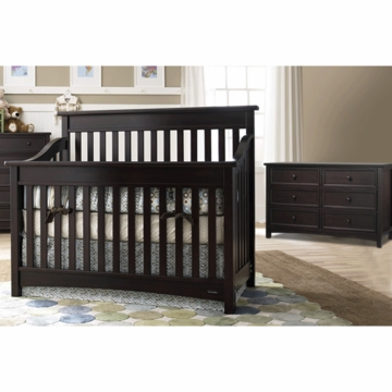 Bonavita Peyton Lifestyle 2 Piece Nursery Set in Espresso - Lifestyle Crib & Double Dresser