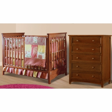 Bonavita Peyton Classic 2 Piece Nursery Set in Chestnut - Classic Crib & 5 Drawer Dresser