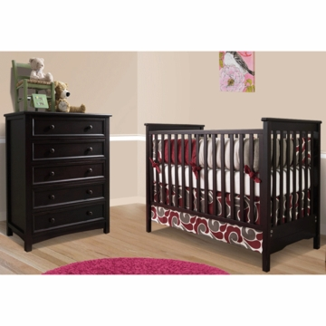 Bonavita Peyton Classic 2 Piece Nursery Set in Espresso - Classic Crib & 5 Drawer Dresser