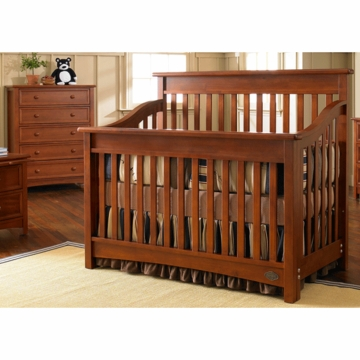 Bonavita Peyton Lifestyle 2 Piece Nursery Set in Chestnut - Lifestyle Crib & 5 Drawer Dresser