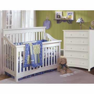 Bonavita Peyton Lifestyle 2 Piece Nursery Set in Classic White - Lifestyle Crib & 5 Drawer Dresser