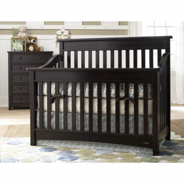 Bonavita Peyton Lifestyle 2 Piece Nursery Set in Espresso - Lifestyle Crib & 5 Drawer Dresser