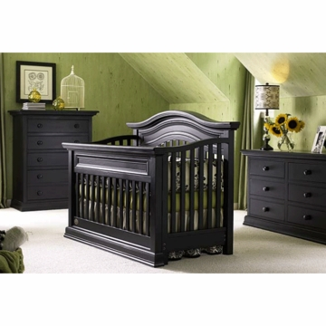 Bonavita Sheffield Lifestyle 3 Piece Nursery Set in Distressed Black - Lifestyle Crib, Double Dresser & 5 Drawer Dresser