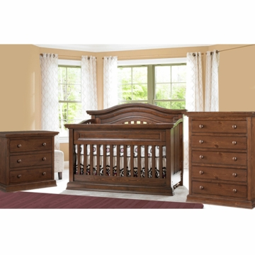 Bonavita Sheffield Lifestyle 3 Piece Nursery Set in Dark Walnut - Lifestyle Crib, Double Dresser & 5 Drawer Dresser
