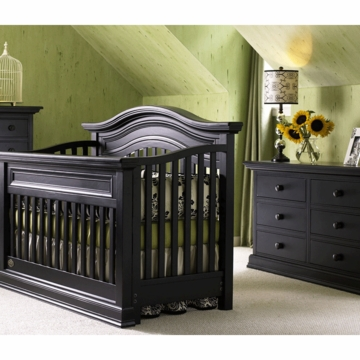 Bonavita Sheffield Lifestyle 2 Piece Nursery Set in Distressed Black - Lifestyle Crib & Double Dresser