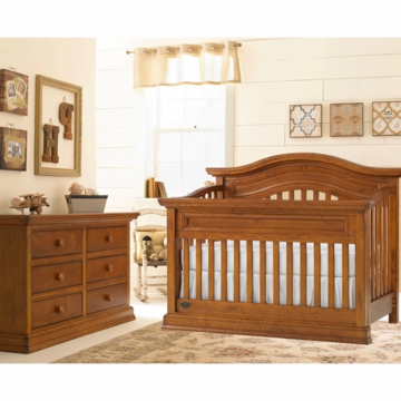 Bonavita Sheffield Lifestyle 2 Piece Nursery Set in Distressed Country Wheat - Lifestyle Crib & Double Dresser
