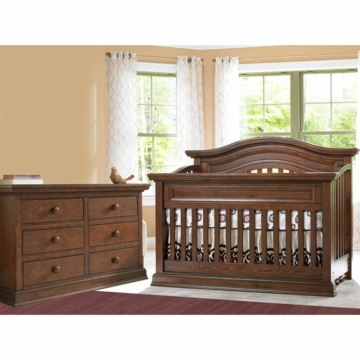 Bonavita Sheffield Lifestyle 2 Piece Nursery Set in Dark Walnut - Lifestyle Crib & Double Dresser