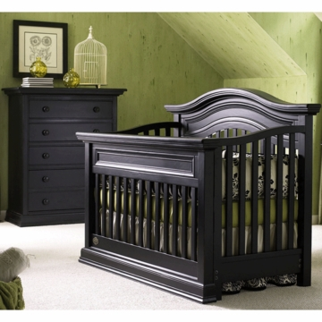 Bonavita Sheffield Lifestyle 2 Piece Nursery Set in Distressed Black - Lifestyle Crib & 5 Drawer Dresser