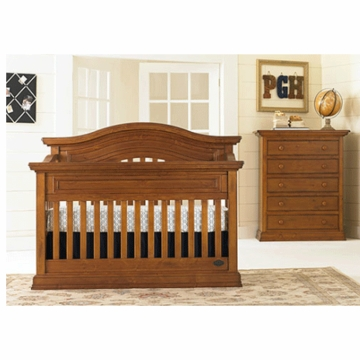 Bonavita Sheffield Lifestyle 2 Piece Nursery Set in Distressed Country Wheat - Lifestyle Crib & 5 Drawer Dresser