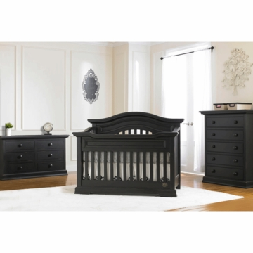 Bonavita Belmont Lifestyle 3 Piece Nursery Set in Distressed Black - Lifestyle Crib, Double Dresser & 5 Drawer Dresser