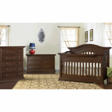 Bonavita Belmont Lifestyle 3 Piece Nursery Set in Dark Walnut - Lifestyle Crib, Double Dresser & 5 Drawer Dresser