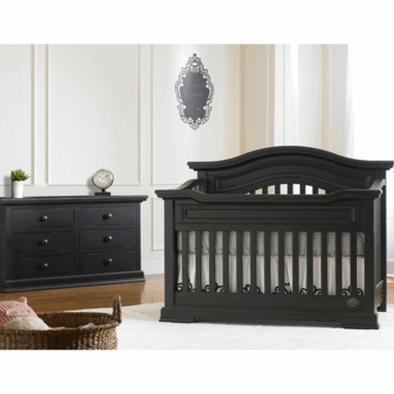 Bonavita Belmont Lifestyle 2 Piece Nursery Set in Distressed Black - Lifestyle Crib & Double Dresser