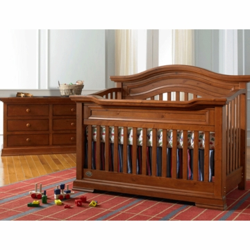Bonavita Belmont Lifestyle 2 Piece Nursery Set in Distressed Country Wheat - Lifestyle Crib & Double Dresser