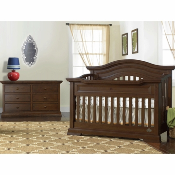 Bonavita Belmont Lifestyle 2 Piece Nursery Set in Dark Walnut - Lifestyle Crib & Double Dresser