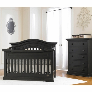 Bonavita Belmont Lifestyle 2 Piece Nursery Set in Distressed Black - Lifestyle Crib & 5 Drawer Dresser