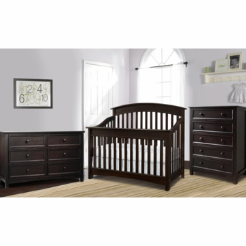 Bonavita Casey Lifestyle 3 Piece Nursery Set in Espresso - Lifestyle Crib, Double Dresser & 5 Drawer Dresser