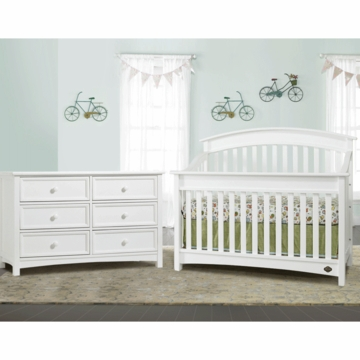 Bonavita Casey Lifestyle 2 Piece Nursery Set in Classic White - Lifestyle Crib & Double Dresser