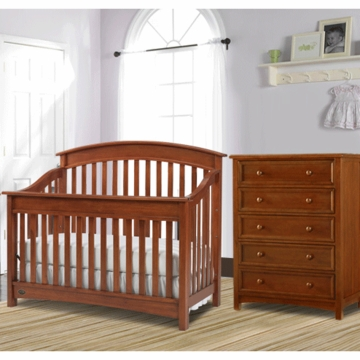 Bonavita Casey Lifestyle 2 Piece Nursery Set in Chestnut - Lifestyle Crib & 5 Drawer Dresser