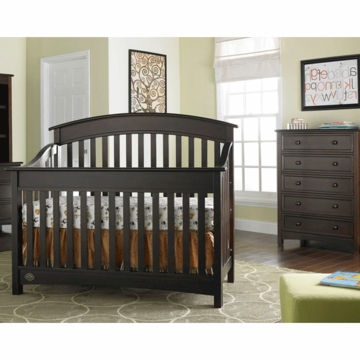 Bonavita Casey Lifestyle 2 Piece Nursery Set in Espresso - Lifestyle Crib & 5 Drawer Dresser