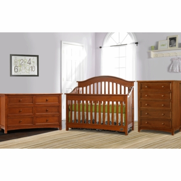 Bonavita Easton Lifestyle 3 Piece Nursery Set in Chestnut - Lifestyle Crib, Double Dresser & 5 Drawer Dresser