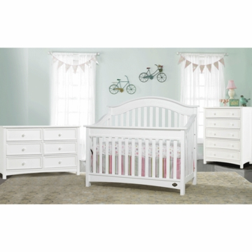 Bonavita Easton Lifestyle 3 Piece Nursery Set in Classic White - Lifestyle Crib, Double Dresser & 5 Drawer Dresser