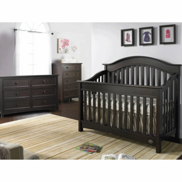 Bonavita Easton Lifestyle 3 Piece Nursery Set in Espresso - Lifestyle Crib, Double Dresser & 5 Drawer Dresser
