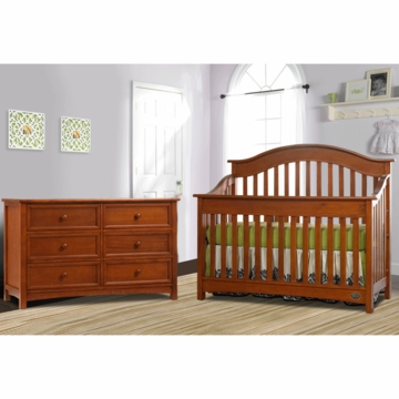 Bonavita Easton Lifestyle 2 Piece Nursery Set in Chestnut - Lifestyle Crib & Double Dresser