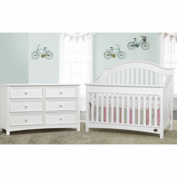 Bonavita Easton Lifestyle 2 Piece Nursery Set in Classic White - Lifestyle Crib & Double Dresser