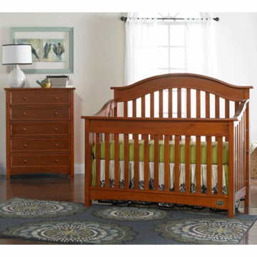 Bonavita Easton Lifestyle 2 Piece Nursery Set in Chestnut - Lifestyle Crib & 5 Drawer Dresser