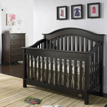 Bonavita Easton Lifestyle 2 Piece Nursery Set in Espresso - Lifestyle Crib & 5 Drawer Dresser