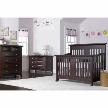 Bonavita Harper Lifestyle 3 Piece Nursery Set in Chocolate - Lifestyle Crib, Double Dresser & 5 Drawer Dresser
