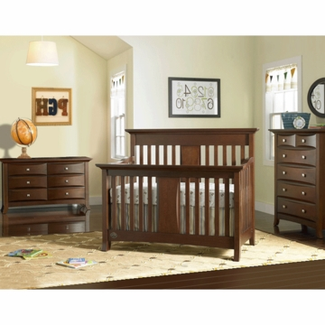 Bonavita Harper Lifestyle 3 Piece Nursery Set in Classic Cherry - Lifestyle Crib, Double Dresser & 5 Drawer Dresser