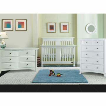 Bonavita Harper Lifestyle 3 Piece Nursery Set in Classic White - Lifestyle Crib, Double Dresser & 5 Drawer Dresser