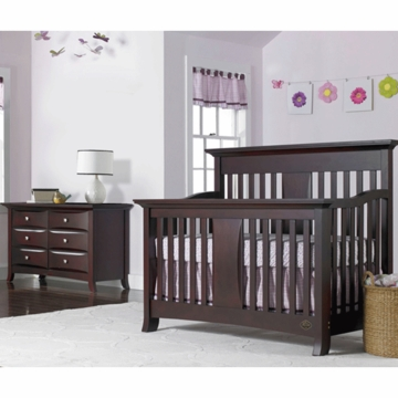 Bonavita Harper Lifestyle 2 Piece Nursery Set in Chocolate - Lifestyle Crib & Double Dresser
