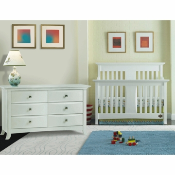 Bonavita Harper Lifestyle 2 Piece Nursery Set in Classic White - Lifestyle Crib & Double Dresser