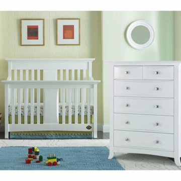 Bonavita Harper Lifestyle 2 Piece Nursery Set in Classic White - Lifestyle Crib & 5 Drawer Dresser