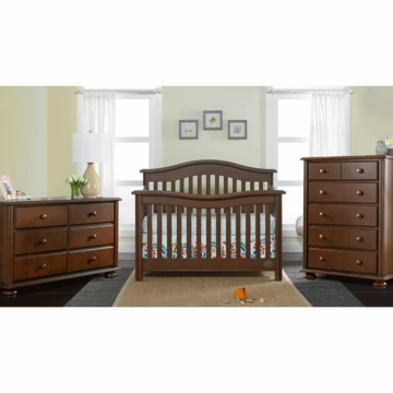 Bonavita Kinsley Lifestyle 3 Piece Nursery Set in Chocolate - Lifestyle Crib, Double Dresser & 5 Drawer Dresser