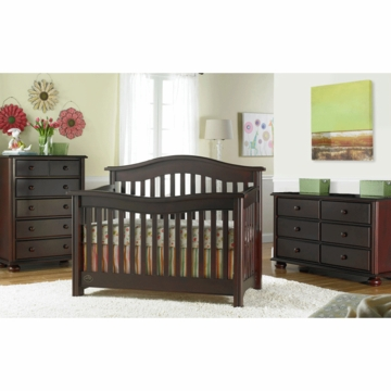 Bonavita Kinsley Lifestyle 3 Piece Nursery Set in Classic Cherry - Lifestyle Crib, Double Dresser & 5 Drawer Dresser
