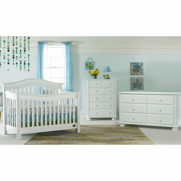 Bonavita Kinsley Lifestyle 3 Piece Nursery Set in Classic White - Lifestyle Crib, Double Dresser & 5 Drawer Dresser
